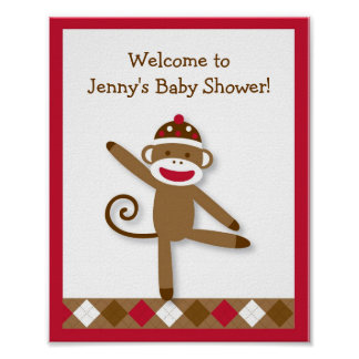 Silly Sock Monkey Baby Shower Sign Poster