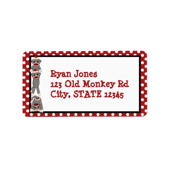 Silly SOCK MONKEY Birthday Address Label SMR