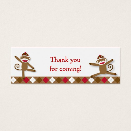 Silly Sock Monkey Goodie Bag Tags