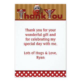 """Silly SOCK MONKEY Thank You 3.5""""x5"""" (FLAT style) Card"""
