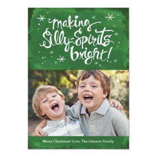 Silly Spirits Bright Holiday Photo card | Pine 13 Cm X 18 Cm Invitation Card