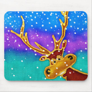 Silly Stag on a snowy colourful background Mouse Pad