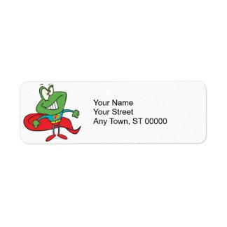 silly superhero super hero frog return address label