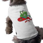 silly superhero super hero frog sleeveless dog shirt