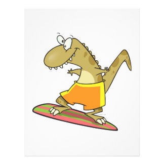 silly surfer surfing dinosaur cartoon flyer design