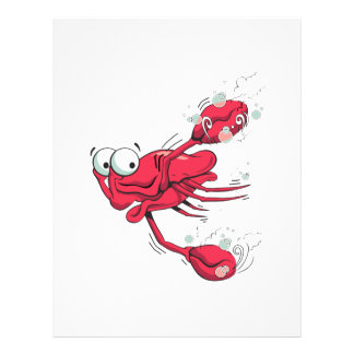 silly swimming scared crab cartoon character flyer