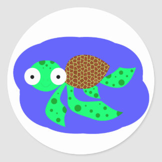 Silly swimming sea turtle classic round sticker