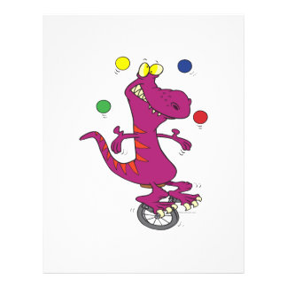 silly t-rex dino juggling on unicycle cartoon custom flyer