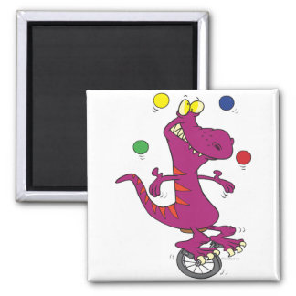 silly t-rex dino juggling on unicycle cartoon square magnet