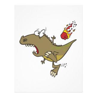 silly t-rex dinosaur dodging meteor cartoon 21.5 cm x 28 cm flyer