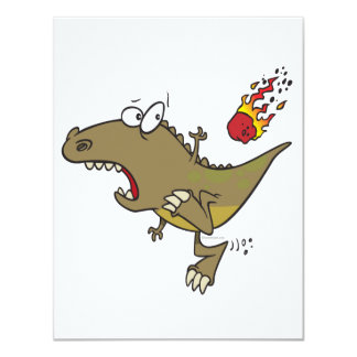 silly t-rex dinosaur dodging meteor cartoon personalized announcements