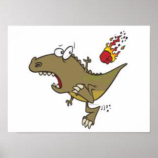 silly t-rex dinosaur dodging meteor cartoon print
