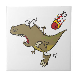 silly t-rex dinosaur dodging meteor cartoon small square tile