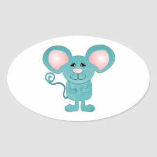 silly teal blue mousey mouse oval sticker