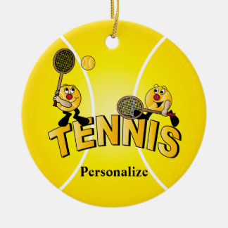 Silly Tennis Ball Players | Personalize Christmas Ornament
