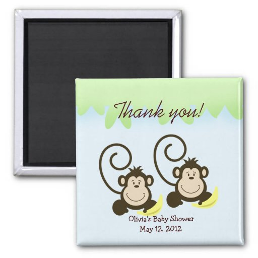 SILLY TWIN MONKEYS Baby Shower Favor Magnet
