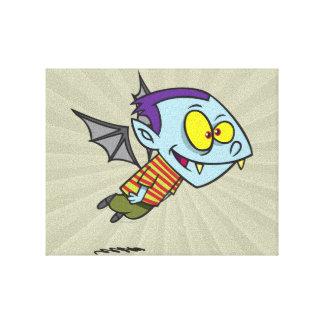 silly vampire bat boy character canvas print