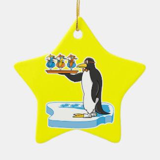 silly waiter penguin christmas ornament