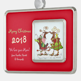 Silly Whimsey Christmas Mooks PERSONALIZED Silver Plated Framed Ornament