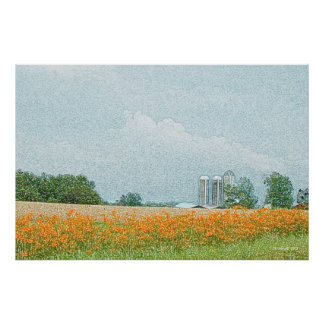 Silos and Lilies Print
