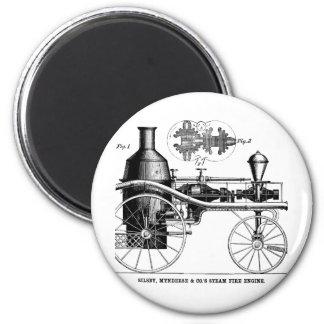 Silsby Rotary Steam Fire Engine 6 Cm Round Magnet