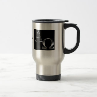 Silve Alpha and Omega symbols on black background. Coffee Mug