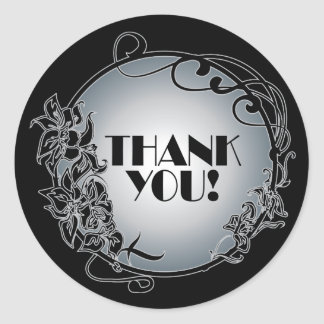 Silver 1920's Vintage Thank You Stickers