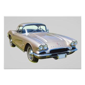 Silver 1962 Chevrolet Corvette Sports car Photo Print