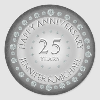 Silver 25th Anniversary Classic Round Sticker