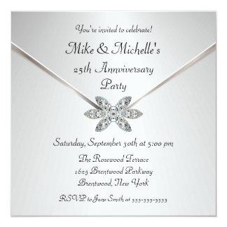 Silver 25th Anniversary Diamond Brooch Invitations
