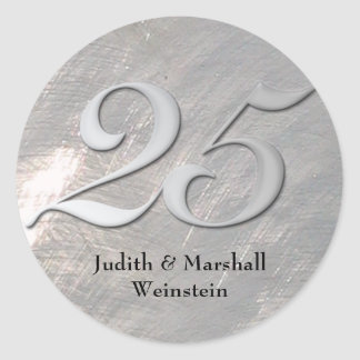 Silver 25th Anniversary Faux Metal Stickers