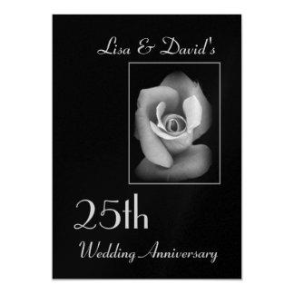 """Silver 25th Anniversary Invitation - Silver Rose 5"""" X 7"""" Invitation Card"""