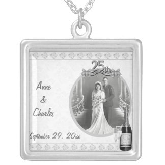 Silver 25th Anniversary Photo Pendant