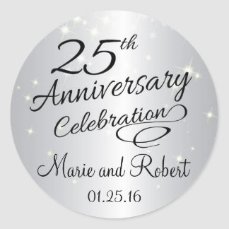 Silver 25th Anniversary Sparkly Wedding Classic Round Sticker