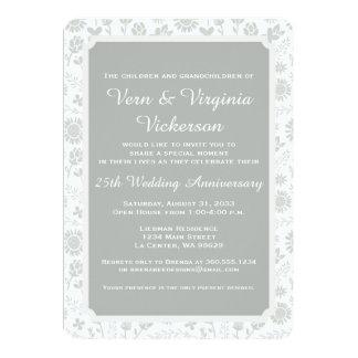 Silver 25th Floral Wedding Anniversary Card