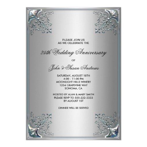 Silver th anniversary party invitations quot
