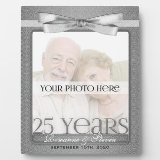 Silver 25th Wedding Anniversary 8x10 Photo Frame Plaque