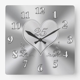 Silver 25th Wedding Anniversary Clocks