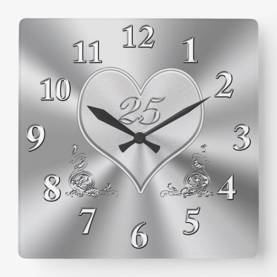Silver 25th Wedding Anniversary Clocks Zazzle Co Uk