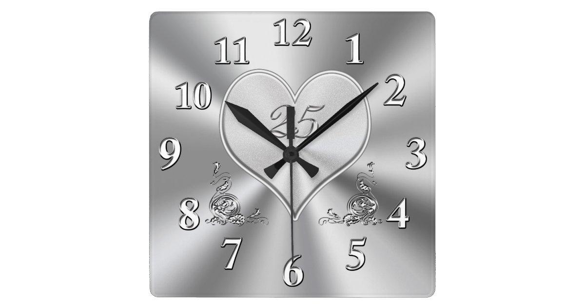 Silver 25th Wedding Anniversary Clocks Zazzle