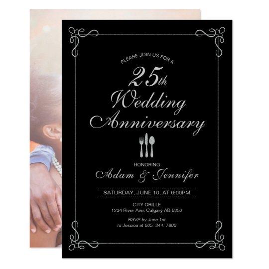 Silver 25th Wedding Anniversary Invitation Card