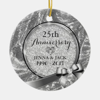 Silver 25th Wedding Anniversary Ornament