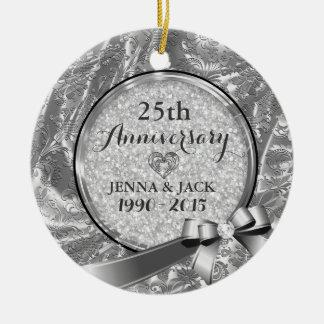 Silver 25th Wedding Anniversary Ornament