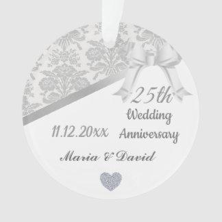 Silver 25th Wedding anniversary. Ornament