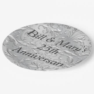Silver 25th Wedding Anniversary Party Paper Plates 9 Inch Paper Plate