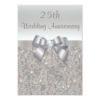 Silver 25th Wedding Anniversary Sequins and Bow 13 Cm X 18 Cm Invitation Card