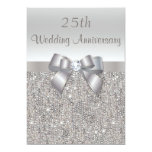 Silver 25th Wedding Anniversary Sequins and Bow 13cm X 18cm Invitation Card