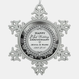 Silver 25th Wedding Anniversary Snowflake Pewter Christmas Ornament