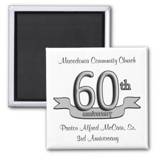 Silver 60th Anniversary Party Favors Square Magnet