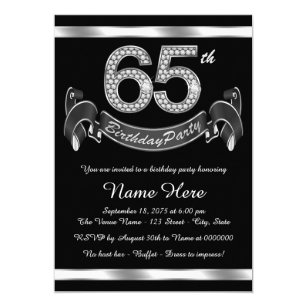 Elegant 65th Birthday Invitations
